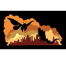 Godzilla versus Mothra cityscape Photographic Print
