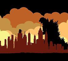Godzilla versus King Kong cityscape by KAMonkey