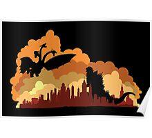 Godzilla versus Ghidorah cityscape Poster