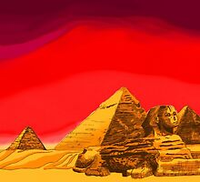 Pyramids of Giza in Summer by George Russ