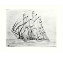 Graphite  Pencil Drawing of a Clipper Ship at Top Speed Art Print