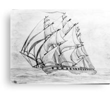Graphite  Pencil Drawing of a Clipper Ship at Top Speed Canvas Print