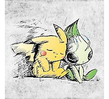 Pokemon 4ever: Pikachu & Celebi Photographic Print
