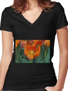 tulips in bloom Women's Fitted V-Neck T-Shirt