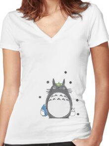 Will you be my neighbor Totoro? Women's Fitted V-Neck T-Shirt