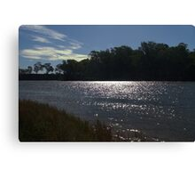 Sunlight on a bend in the river Canvas Print