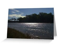 Sunlight on a bend in the river Greeting Card