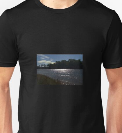 Sunlight on a bend in the river Unisex T-Shirt