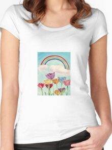 Tulips & Rainbows Women's Fitted Scoop T-Shirt
