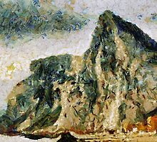 A digital impressionist painting of Gibraltar - the North Face all products by Dennis Melling