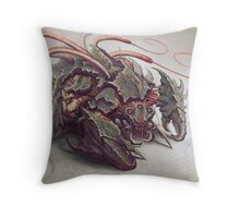 Red Whip Thresher Throw Pillow