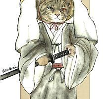 A Halfing Samurai Cat with one green eye and one yellow eye by felissimha