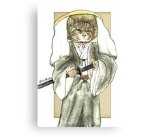 A Halfing Samurai Cat with One Green Eye and One Yellow Eye Canvas Print