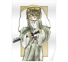 A Halfing Samurai Cat with One Green Eye and One Yellow Eye Poster