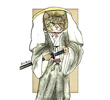 A Halfing Samurai Cat with One Green Eye and One Yellow Eye Photographic Print