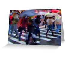 Wet Umbrellas Greeting Card