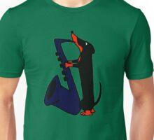 Awesome Dachshund Dog Playing Saxophone Unisex T-Shirt