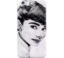 Audrey Hepburn Scratchboard Portrait iPhone Case/Skin