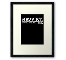 Navy Street White Framed Print