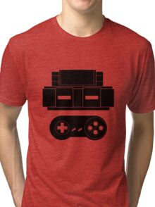 Let's Play SNES (Black) Tri-blend T-Shirt