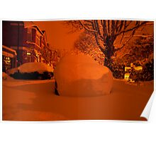Snowy Forecourt Poster
