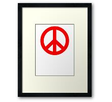 Red Peace Sign Symbol Framed Print