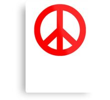 Red Peace Sign Symbol Metal Print