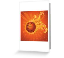 Fire Basketball Ball Background Greeting Card