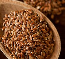 Brown flax seeds portion by Arletta Cwalina