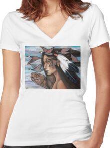 Sky Woman Iroquois Mother Goddess Women's Fitted V-Neck T-Shirt