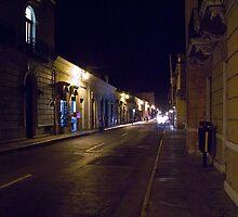Merida, Yucatan street at night by David Chesluk