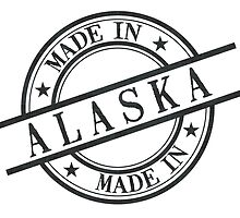 Made In Alaska Stamp Style Logo Symbol Black by surgedesigns