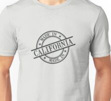 Made In California Stamp Style Logo Symbol Black Unisex T-Shirt