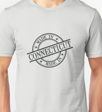 Made In Connecticut Stamp Style Logo Symbol Black Unisex T-Shirt