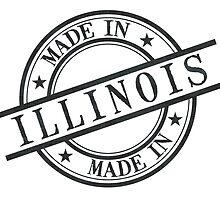Made In Illinois Stamp Style Logo Symbol Black by surgedesigns
