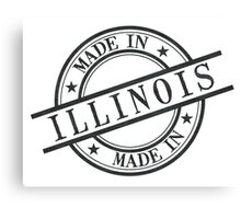 Made In Illinois Stamp Style Logo Symbol Black Canvas Print