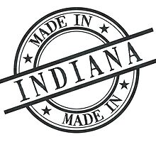 Made In Indiana Stamp Style Logo Symbol Black by surgedesigns