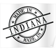 Made In Indiana Stamp Style Logo Symbol Black Poster