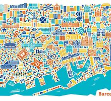 Barcelona City Map Poster by Vianina