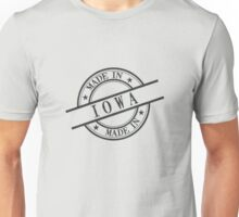 Made In Iowa Stamp Style Logo Symbol Black Unisex T-Shirt
