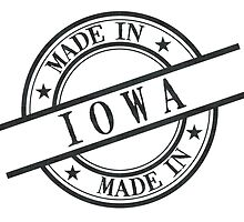 Made In Iowa Stamp Style Logo Symbol Black by surgedesigns