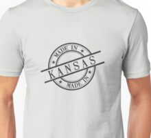 Made In Kansas Stamp Style Logo Symbol Black Unisex T-Shirt