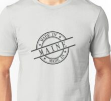 Made In Maine Stamp Style Logo Symbol Black Unisex T-Shirt