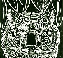 """""""Meow"""" Linocut Hand Pulled Print by Catherine  Howell"""