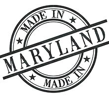 Made In Maryland Stamp Style Logo Symbol Black by surgedesigns