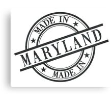 Made In Maryland Stamp Style Logo Symbol Black Canvas Print