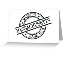 Made In Massachusetts Stamp Style Logo Symbol Black Greeting Card