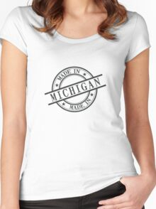 Made In Michigan Stamp Style Logo Symbol Black Women's Fitted Scoop T-Shirt