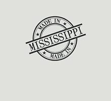 Made In Mississippi Stamp Style Logo Symbol Black Unisex T-Shirt