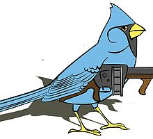 Budgie with a Gun Blue by retromoomin